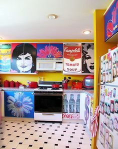 Jonathan Fong's pop art kitchen -- Andy Warhol posters decoupaged on cabinets