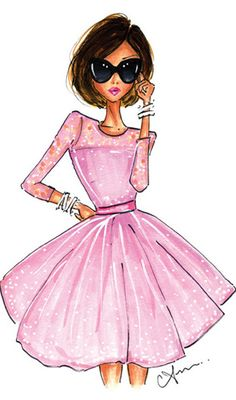Fashion Illustration, The Pink Dress Print by Anum Tariq