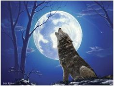 Lone Wolf by Jeff Wilkie. Grey Wolf howling at the moon 300 piece puzzle