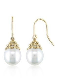 Angara Art Deco Style South Sea Cultured Pearl Dangle Earrings VhRx7rwx5
