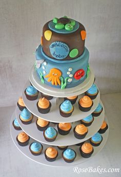 Under the Sea Baby Shower Cake & Cupcake Tower (Stand) by @RoseBakes.com   Click over for more pictures and details!