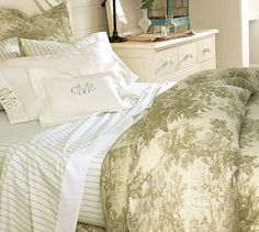 Matine Toile Duvet Cover & Sham - Sprout Green #potterybarn