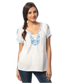 High Quality Women's Hand-embroidered Peasant Top