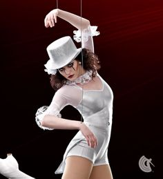 Curtain Call Costumes® - On Parade White metallic stripe nylon/spandex and mystique nylon/spandex boy short leotard with attached mesh sleeves. Attached stretch satin tails, and lace ruffle and spangle trim. INCLUDES: ruffle lace headdress. https://curtaincallcostumes.com/products/product-page-t.php?prodid=7604