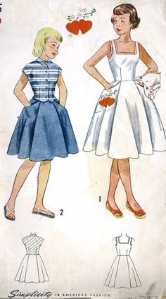 1950 Girls' Sun Dress and Jacket Including Transfer Vintage Sewing Pattern, Simplicity 3215 Size 14 uncut. $10.00, via Etsy.