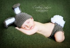Bunny Hat and Diaper Cover: Must get this for newborn pics!!