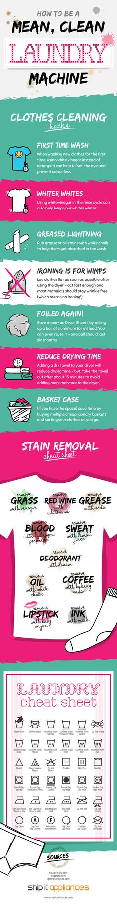 'How To Become A Mean, Clean Laundry Machine [Infographic]...!' (via Daily Infographic)
