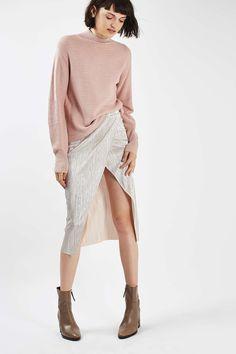 Plisse Wrap Midi Skirt