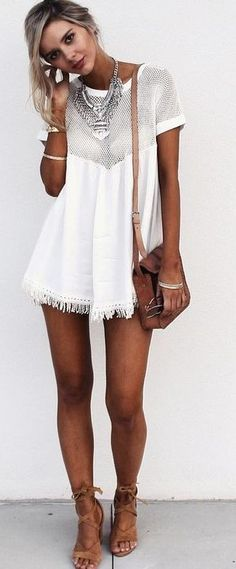 Mesh Panel Little Dress Source White Boho Dress, Little White Dresses, Boho Fashion, Fashion Outfits, Womens Fashion, Fashion Styles, Fashion Beauty, Trendy Outfits, Summer Outfits