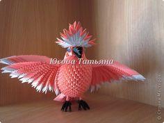Поделка изделие Оригами китайское модульное Розовый попугай Бумага фото 1