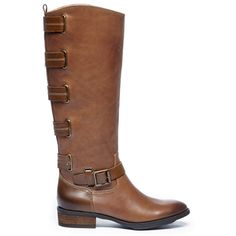 Sole Society Franzie Buckled Tall Boot ($150) ❤ liked on Polyvore featuring shoes, boots, vintage cognac, vintage motorcycle boots, engineer boots, tall leather boots, leather riding boots and knee high buckle boots