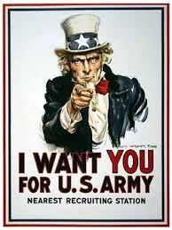 propaganda poster kapitalisme -  deze propaganada poster was bedoeld voor mensen die in leger wouden of konden vechten tegen de vijand van Amerika