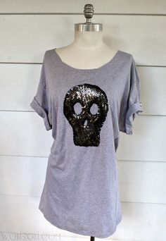 WobiSobi: Skull Sequin Shirt.DIY