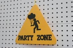 Construction Party Zone Sign in yellow and black by EMTsweeetie, $5.00