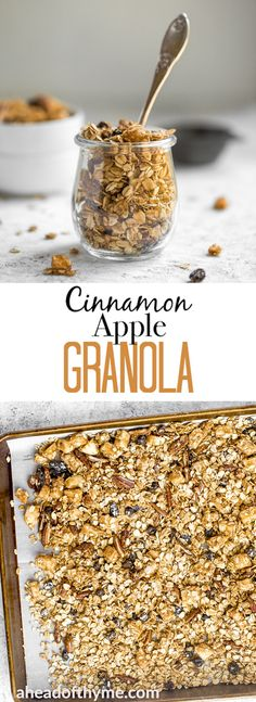 Make your mornings a little easier by prepping this delicious and easy cinnamon apple granola aka apple pie granola ahead of time and I promise you'll never buy store-bought again! Apple Recipes, Fall Recipes, Snack Recipes, Snacks, Healthy Recipes, Brunch Menu, Cinnamon Apples, Nutella, Bento