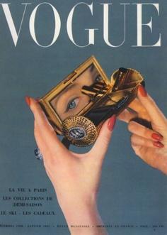 December 1950 Vogue, makeup, ring, red nail polish