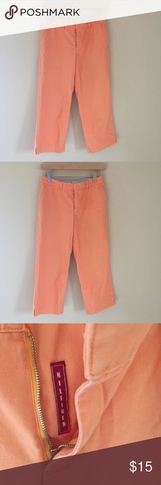 """Tommy Hilfiger Cropped Orange Pants Size 2 Tommy Hilfiger capris. Please measure before purchasing and email me with any questions or additional info needed   Waist: 28""""  Inseam: 23""""  Outseam: 32""""  Front rise: 9""""  Back rise: 14"""" Tommy Hilfiger Pants Capris"""