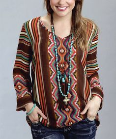 Look what I found on #zulily! Brown & Pink Tribal Stripe V-Neck Top by Stetson #zulilyfinds
