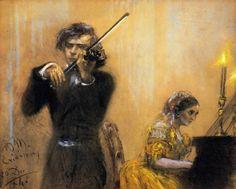 Clara Schumann and Josep Joachim in Concert - Adolph von Menzel 1854