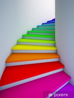 12 Ideas To Spice Up Your Stairs - Stairway to heaven - Rainbow Taste The Rainbow, Over The Rainbow, World Of Color, Color Of Life, Escalier Design, Stairway To Heaven, Deco Design, Design Design, Happy Colors