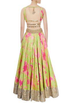 Buy Green & pink tie-dye lehenga set by Akanksha Gajria at Aza Fashions Dress Indian Style, Indian Dresses, Indian Outfits, Lehenga Designs, Saree Blouse Designs, Indian Designer Outfits, Designer Dresses, Lehnga Dress, Lehenga Choli