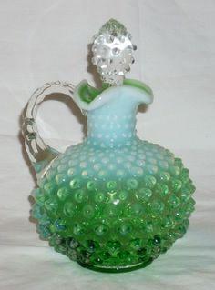 Fenton Lime Opalescent Hobnail Cruet