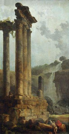⚜ Ruinas clásicas / classical ruins: Temple of Vespasian and Titus and the Cascade at Tivolica. 1785