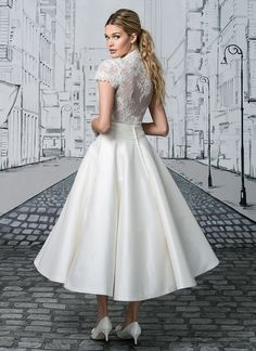The options are endless with this two piece set. The short sleeved V-neck bodice tucks perfectly into the Silk tea length ball gown skirt. A Mikado skirt version is also available as style Full length skirt options are available in Silk as or Mikado as Lace Wedding Dress, Bridal Party Dresses, Tea Length Wedding Dress, Tea Length Dresses, New Wedding Dresses, Designer Wedding Dresses, Ball Dresses, Bridal Gowns, Bridesmaid Dresses