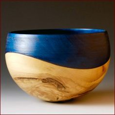 'Wave Bowl (Liquidambar, blue colouring) by John Beaver. Wood Turning Projects, Wood Projects, Woodworking Projects, Wood Bowls, Wooden Art, Wood Lathe, Wood Sculpture, Wood Carving, Natural Wood