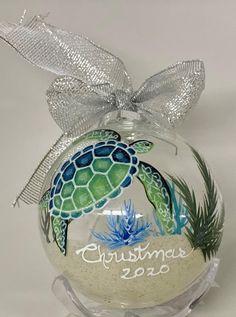 Nautical Christmas, Beach Christmas, Christmas Art, Christmas Ideas, Christmas Bulbs, Xmas, Beach Ornaments, Clear Ornaments, Painted Christmas Ornaments