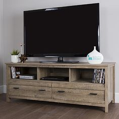 south shore exhibit tv stand for tvs up to 60 weathered oak tv