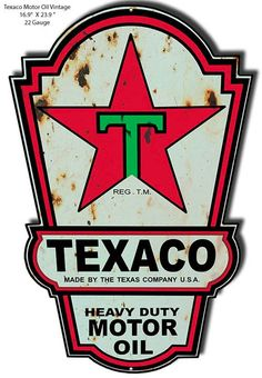 Garage Art Signs Texaco Motor Oil Reproduction Vintage Cut Out Metal Sign Garage Signs, Garage Art, Man Cave Garage, Garage Shop, Cave Bar, Vintage Metal Signs, Vintage Wood, Old Gas Stations, Texaco