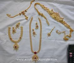 One Gram Gold Bridal Jewellery Sets from SVS ~ South India Jewels Gold Bridal Jewellery Sets, 1 Gram Gold Jewellery, Indian Wedding Jewelry, Wedding Jewelry Sets, Gold Jewelry, Cz Jewellery, Gold Bangles Design, Gold Jewellery Design, Ruby Necklace Designs