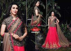 buy saree online Bollywood Inspired Pink Colour Jacquard and Georgette Lehenga Style Saree Buy Saree online - Buy Sarees online