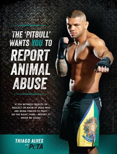 Thiago 'The Pitbull' Alves Speaks Out Against Dogfighting in his new #PETA ad!