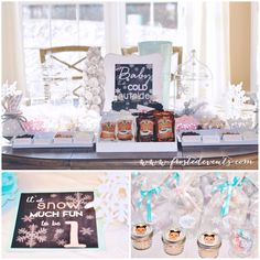 Hot Cocoa Bar and hot cocoa jar favors Winter ONEderland first birthday party by Frosted Events www.frostedevents.com  Pretty pastel winter theme dessert table, snowflake cookies, pink and turquoise blue cake pops #firstbirthday #winterwonderland #wintertheme #girlsbirthdayparty #birthday