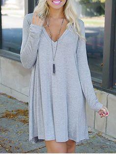 Simple Plunging Neck Long Sleeve Pure Color Women's DressLong Sleeve Dresses   RoseGal.com