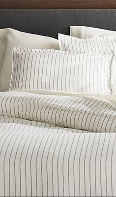 Sale ends soon. Shop Linen Wide Stripe Warm White Duvet Covers and Pillow Shams. Crisp stripes on warm white linen chambray build a bed with classic pattern and luxurious softness. White Linen Bedding, Bed Linen Design, White Duvet, Simple Bed, White Duvet Covers, Bed Linens Luxury, Bed, Bed Pillows, Neutral Bed Linen