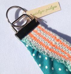 New to pidgepidge on Etsy: Woven Bracelet Fob   Handwoven Neon Coral and Turquoise Fob Wristlet   Woven Textile Key Chain   Modern Boho Key Wristlet   Ladies Gifts