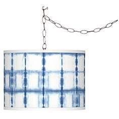 Blue Mist Giclee Glow Plug-In Swag Pendant
