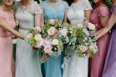 Beautiful bridesmaid dresses in different colours at Aswanley Wedding. Image by Caro Weiss. Colour Pop, Color Splash, Beautiful Bridesmaid Dresses, Wedding Dresses, Corporate Entertainment, Iron Chandeliers, Different Colors, Backdrops, Wedding Venues