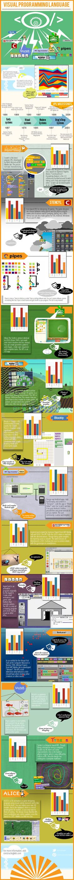 Educational infographic : Visual Programming Language explained with 13 examples.