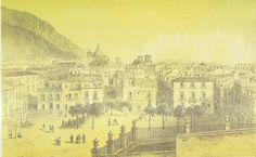 GRABADOS Y PRIMERAS FOTOS DE ALICANTE ~ Alicante Vivo- Plaza de San Francisco. Litografía de Deroy, impresa por Becquet (Paris)