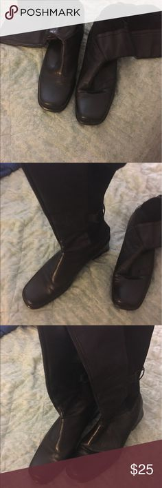 Tall Black Leather Boots Good condition. Leather with stretch back and crisscrossing detail. About 1 inch heel. Shoes Heeled Boots