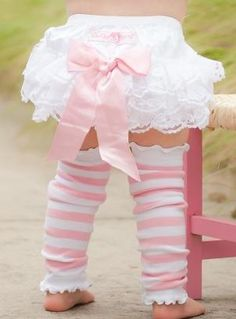 "'RuffleButts"" ~ Too CUTE!!! White Lace Bloomers with Pink Bow and leg warmers @Jamie Wise Wise Smith"