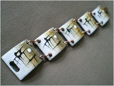Rare + Coveted Collectible! Mid-century Robert + Audrey ENGSTROM American Studio Modernist COPPER ENAMEL BRACELET..
