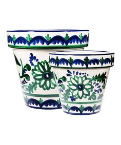 Another great find on #zulily! Blue & Green Floral Planter - Set of Two #zulilyfinds
