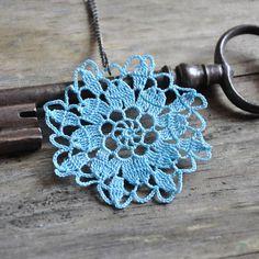 Blue Doily Necklace