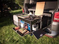 California kitchen box – Rear kitchen, kitchen module, TOP camperX – VW and California accessories shop for camping - Modern Vw Bus T5, Bus Camper, Mercedes Camper, Camping Diy, Outdoor Camping, Camping Kitchen, T6 California Beach, Camper Jacks, Ute Canopy
