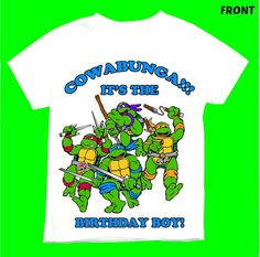 Ninja turtle Birthday Boy T-shirt Personalized 1st 2nd 3rd 4th 5th 6th Personalization is included at no additional cost.